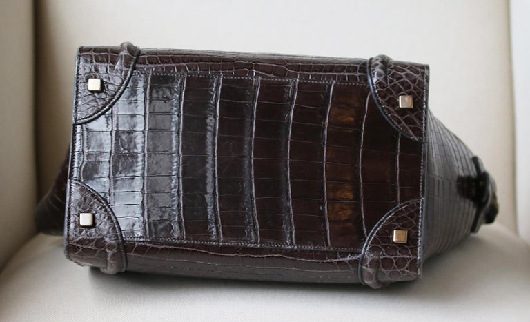 Céline Brown Crocodile Luggage Bag With Gold H/W In Excellent Condition For Sale In London, GB