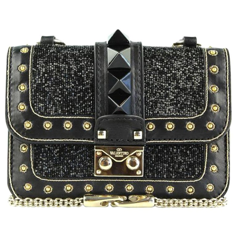 b05d97abd Valentino Rockstud Lock Mini Bead Embellished Leather Shoulder Bag For Sale