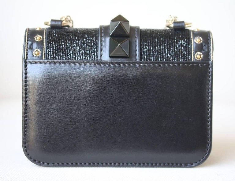 Valentino Rockstud Lock Mini Bead Embellished Leather Shoulder Bag In Excellent Condition For Sale In London, GB
