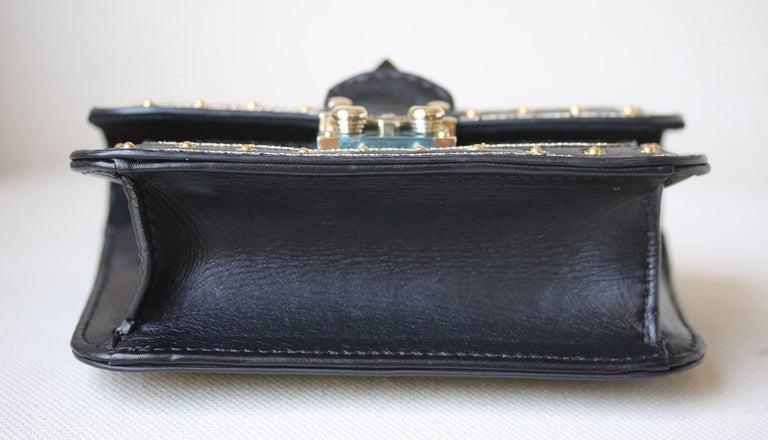 Women's or Men's Valentino Rockstud Lock Mini Bead Embellished Leather Shoulder Bag For Sale