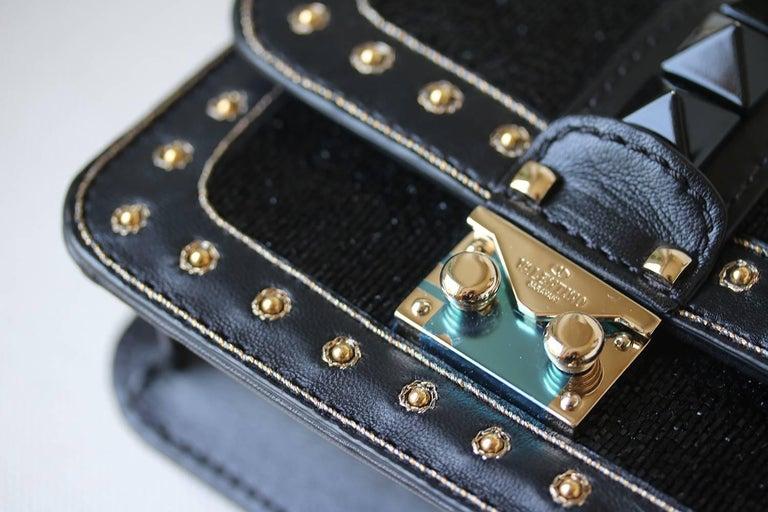 Valentino Rockstud Lock Mini Bead Embellished Leather Shoulder Bag For Sale 1
