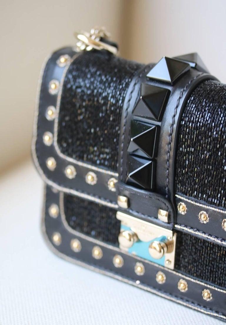 Valentino Rockstud Lock Mini Bead Embellished Leather Shoulder Bag For Sale 2