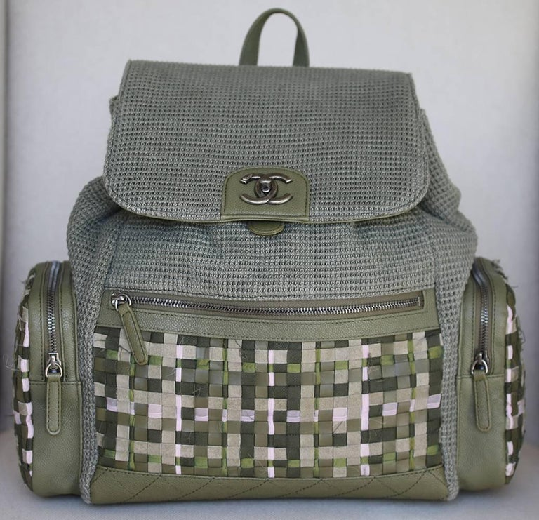 de551b8d08c5 Chanel 2017 Cruise Collection Limited Edition Runway Coco Cuba woven canvas  and tweed backpack. Green