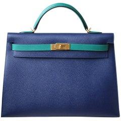 Hermès 40cm Spezialedition Zweifarbige Gebürstet Golddetails Kelly Tasche