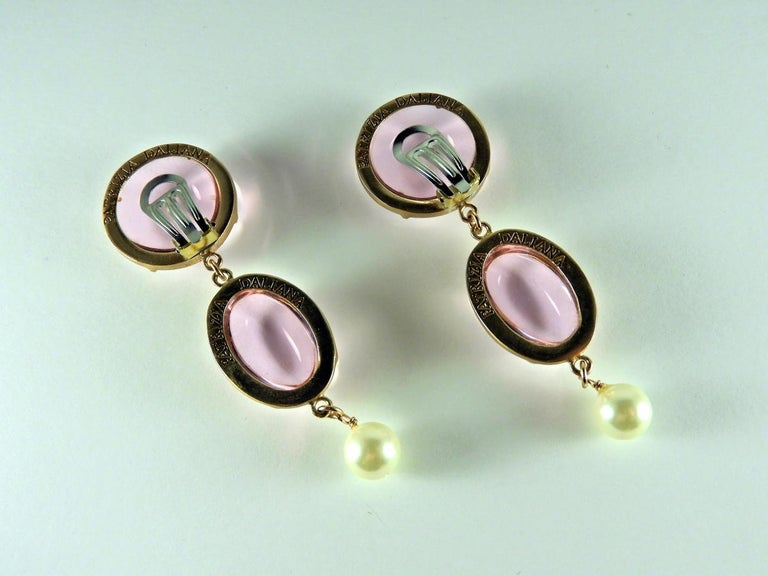 Modern Bronze Earrings with Pink Murano glass cabochon and freshwater pearl. For Sale