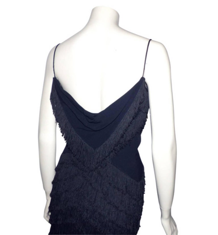 RARE Dior Boutique Long Dress Fringes Black S size or 38 / EXCELLENTE CONDITION  9