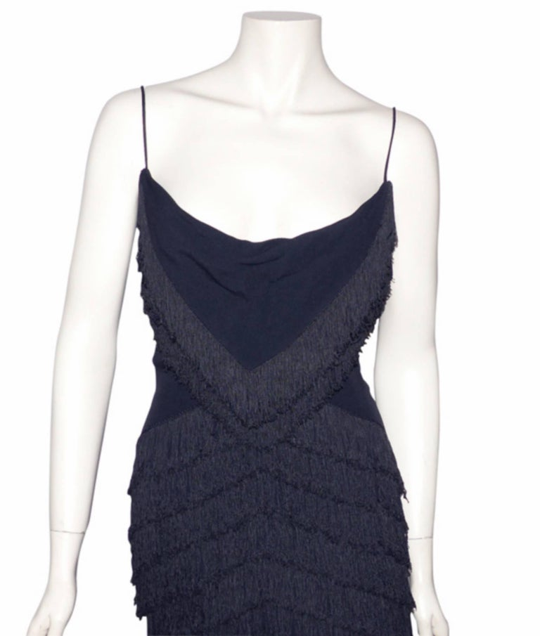 RARE Dior Boutique Long Dress Fringes Black S size or 38 / EXCELLENTE CONDITION  7