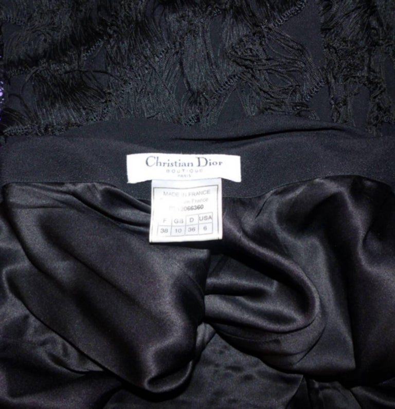 RARE Dior Boutique Long Dress Fringes Black S size or 38 / EXCELLENTE CONDITION  10