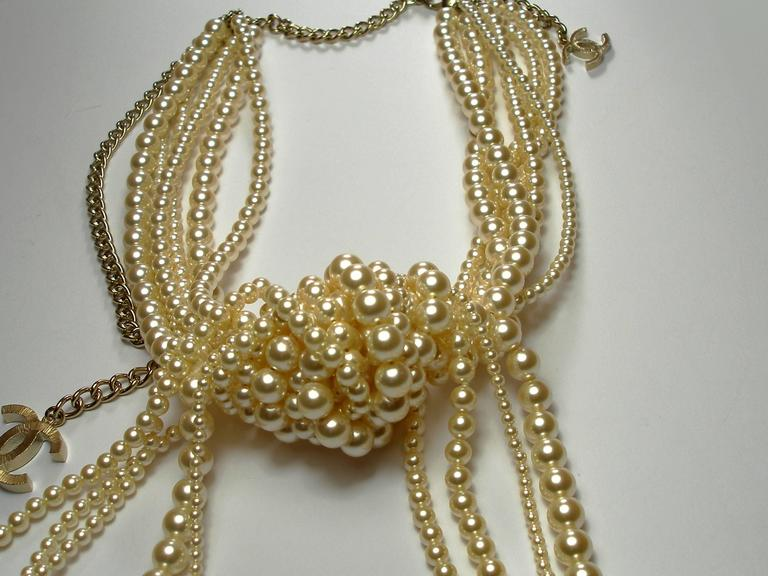 Chanel Pearl multi strand Waterfall Necklace Runway collection For Sale 2