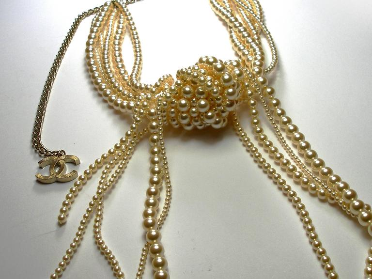 Chanel Pearl multi strand Waterfall Necklace Runway collection For Sale 3