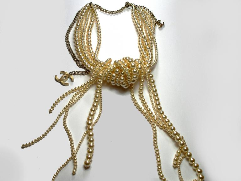 Chanel Pearl multi strand Waterfall Necklace Runway collection For Sale 4