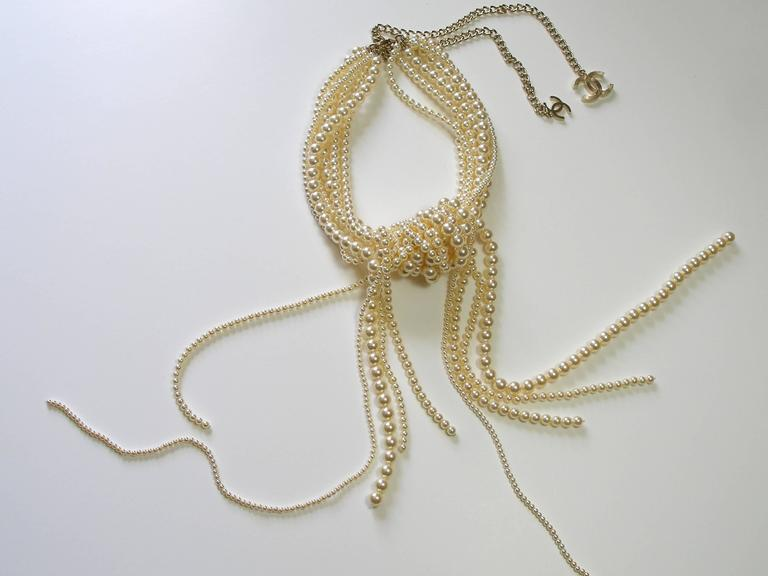 Chanel Pearl multi strand Waterfall Necklace Runway collection For Sale 5