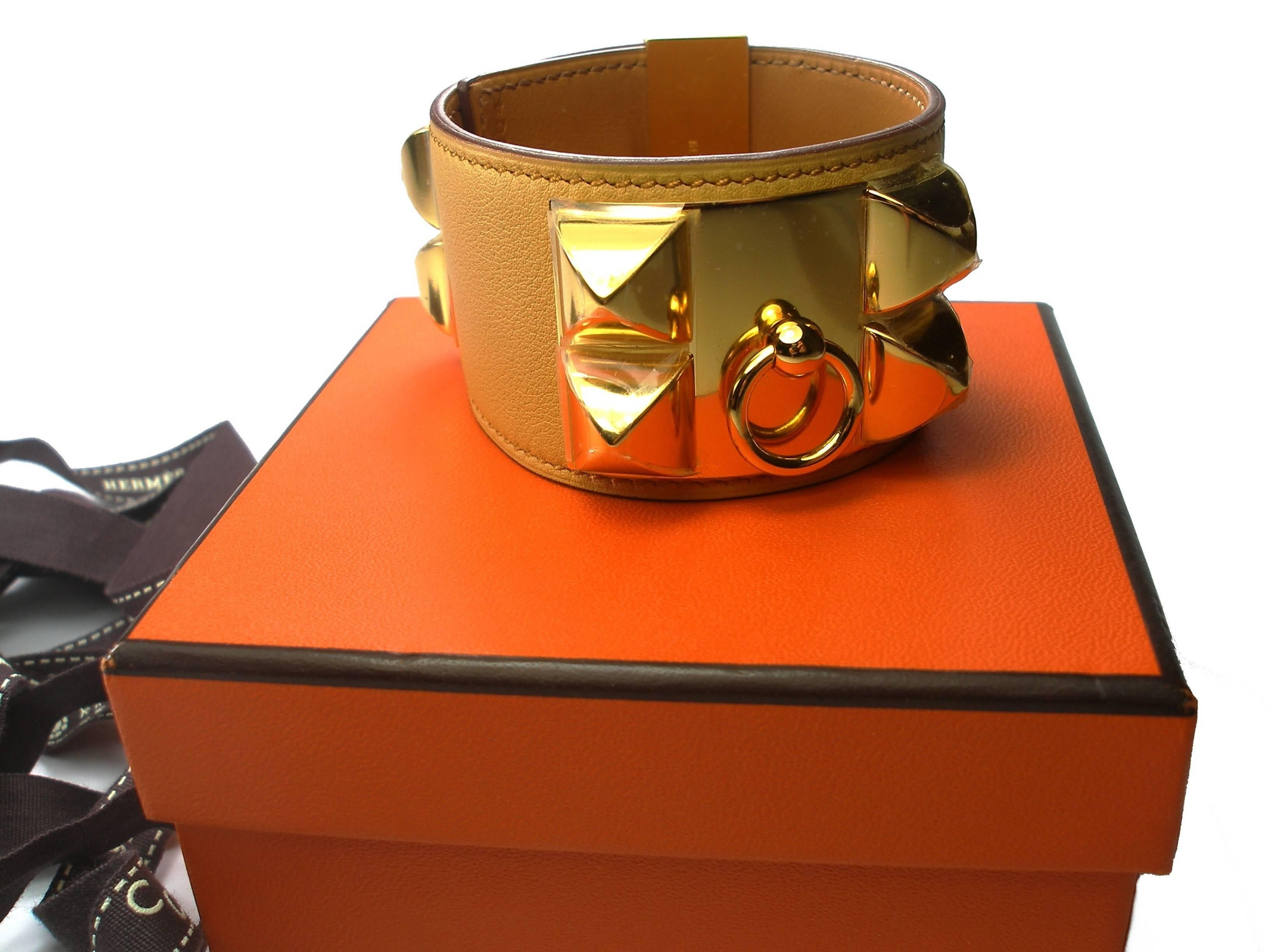 brown bracelet hermes collier s herm chien orlando select with gold product hardware de dark