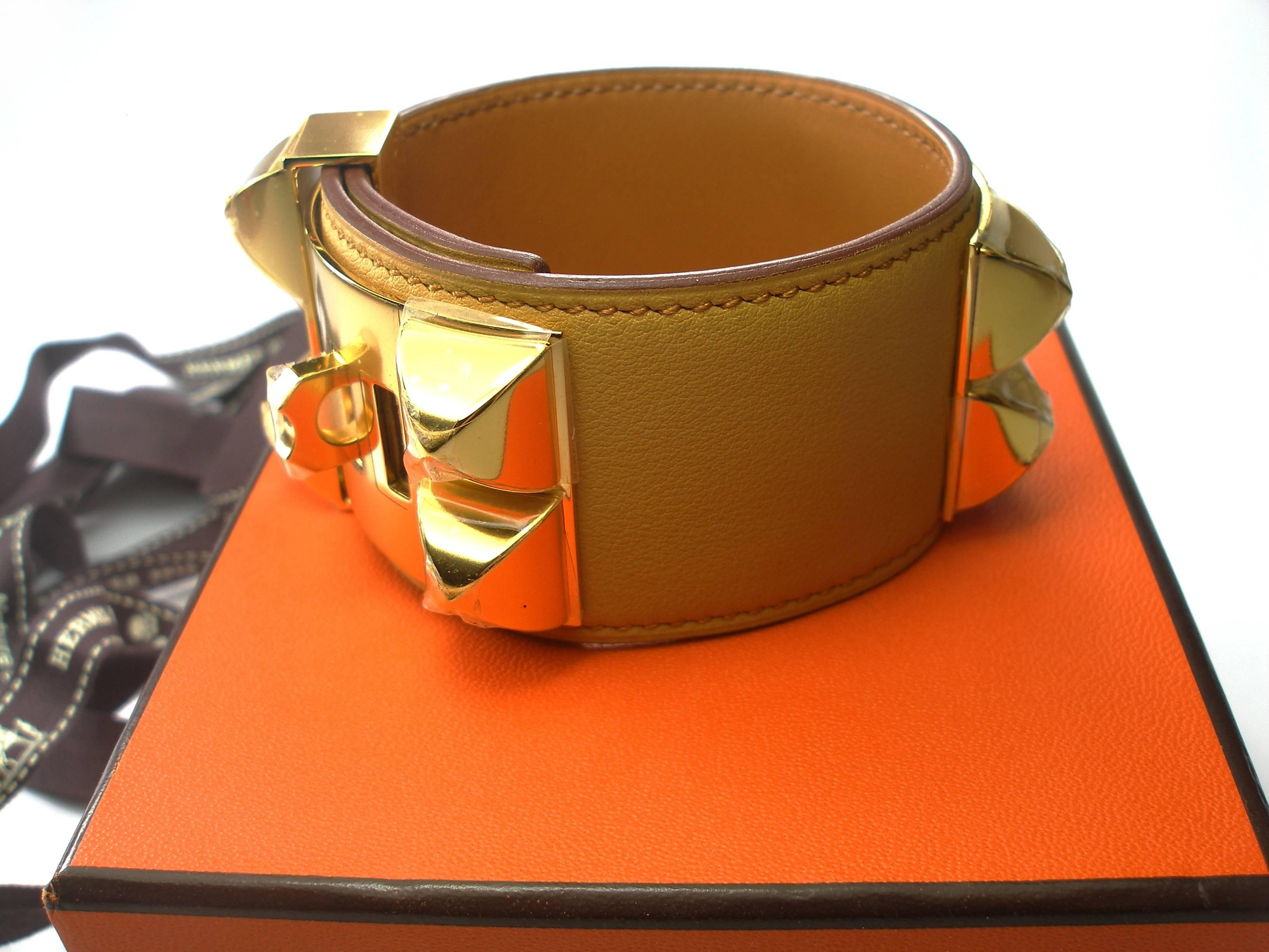 small collier bracelet chien hermes fauve leather b de tadelakt