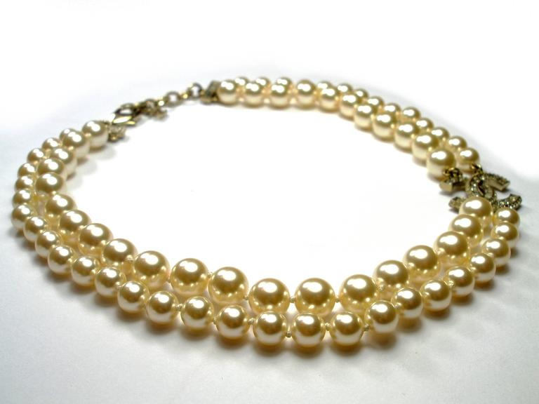 50ac6cf5b608b Chanel 2016 Double Strand Gold CC Créme Pearl Necklace For Sale at ...