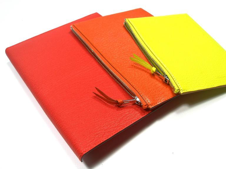Red Hermès Enveloppe Trio wallet GM / Brand new  For Sale
