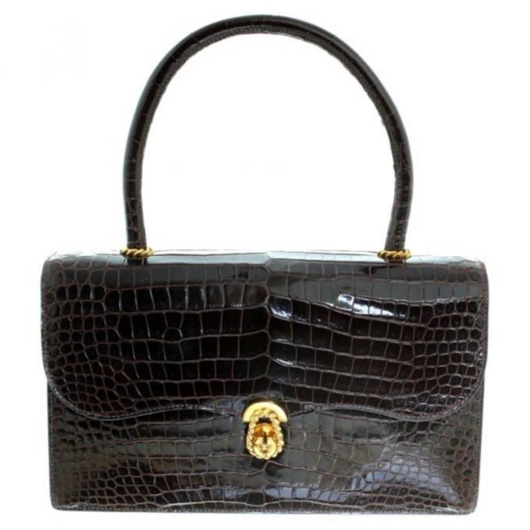 89afa71fafd0 Hermès Ring croc Vintage Bag For Sale at 1stdibs