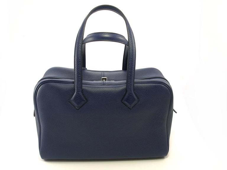 Impossible To Find In This Color Bleu Saphir Genuine 35cm Hermès Victoria Ii Bag Featured