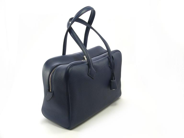 bc50f41052 Hermes Victoria II 35cm Blue Clemence Palladium HDW / BNIB For Sale 2