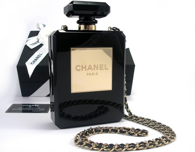 Women's Chanel Black Perfume Bottle Bag Limited Edition / VERY RARE and COLLECTOR For Sale