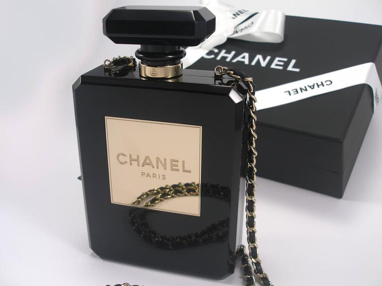 Chanel Black Perfume Bottle Bag Limited Edition / VERY RARE and COLLECTOR For Sale 5