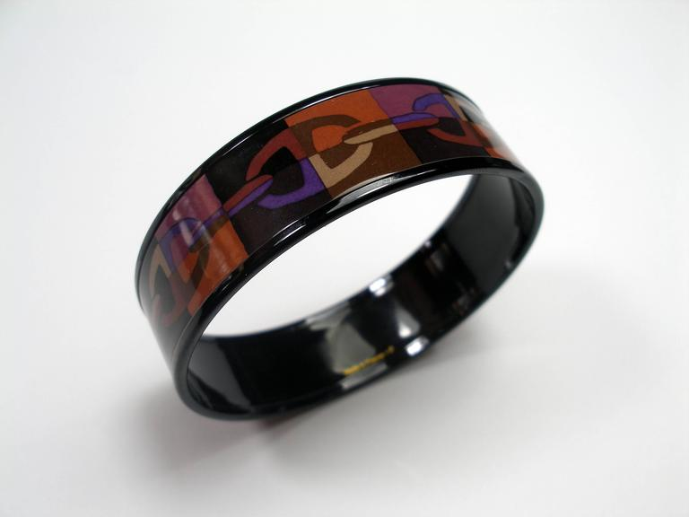 Hermes Optique Chaine D'Ancre Enamel Bracelet PM 6 cm / Black Limited Edition In New Condition For Sale In VERGT, FR