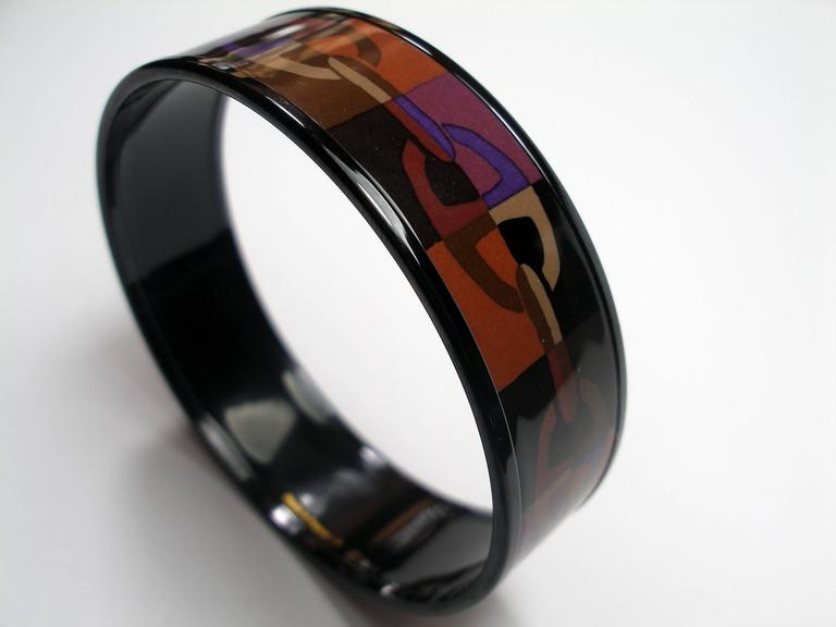 Women's Hermes Optique Chaine D'Ancre Enamel Bracelet PM 6 cm / Black Limited Edition For Sale