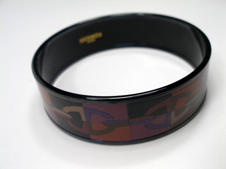 Hermes Optique Chaine D'Ancre Enamel Bracelet PM 6 cm / Black Limited Edition For Sale 1