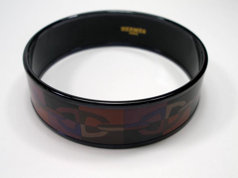 Hermes Optique Chaine D'Ancre Enamel Bracelet PM 6 cm / Black Limited Edition For Sale 2