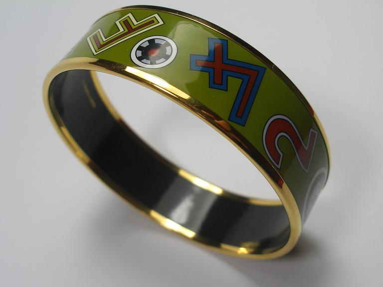 Hermès Tohu Bohu Printed Enamel Bracelet PM 6 cm / RARE  In New Condition For Sale In Saumur, FR