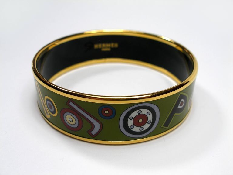 Hermès Tohu Bohu Printed Enamel Bracelet PM 6 cm / RARE  For Sale 2