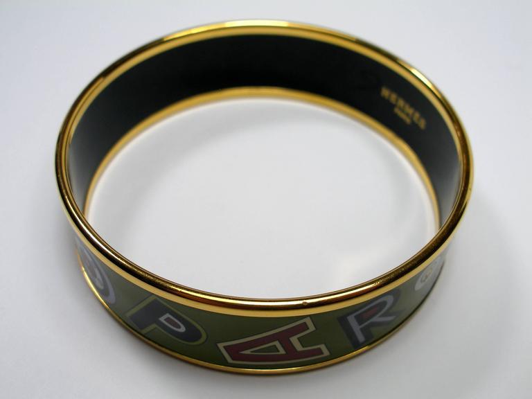 Hermès Tohu Bohu Printed Enamel Bracelet PM 6 cm / RARE  For Sale 3