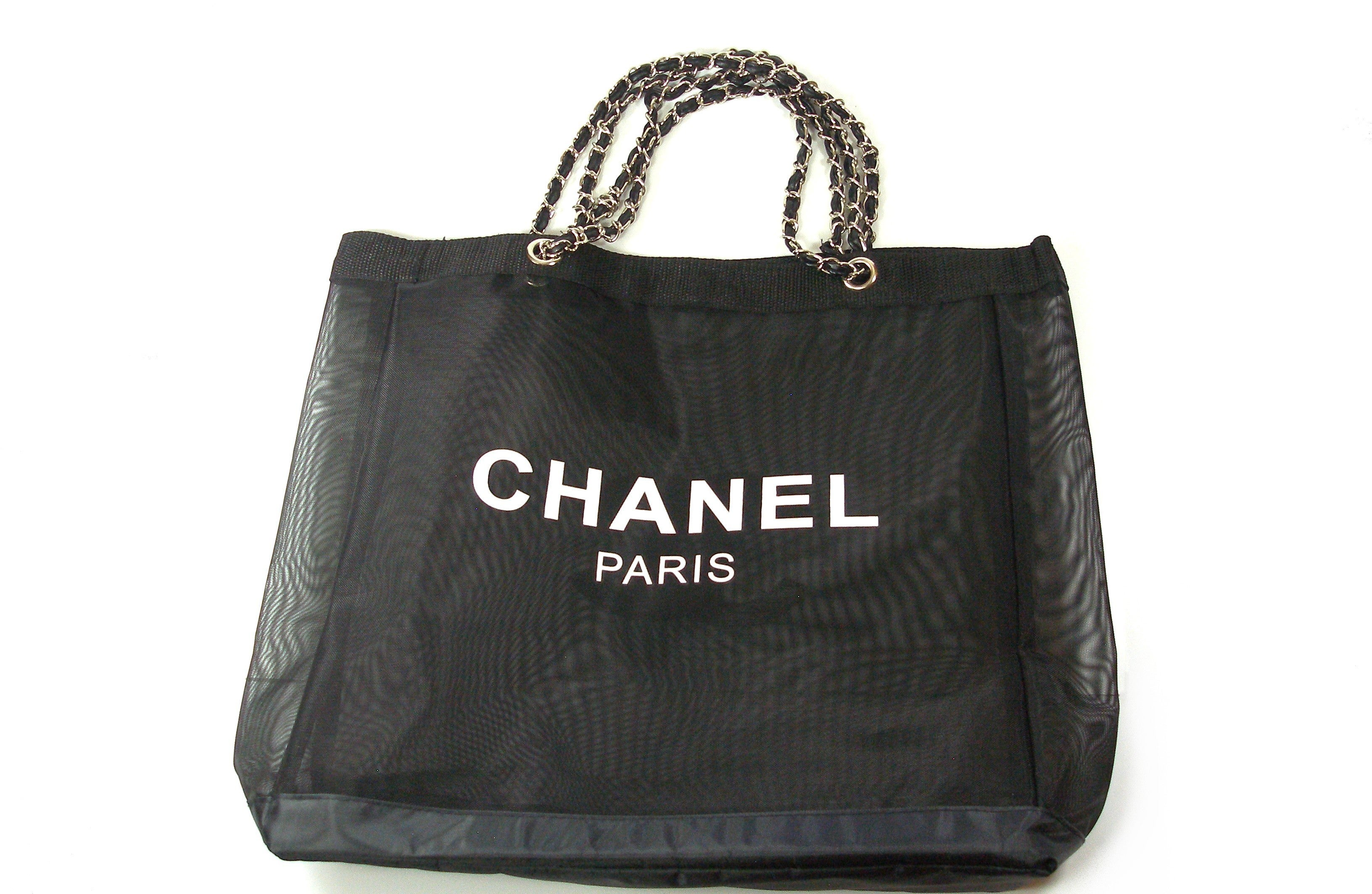 617166db07bdc5 CHANEL VIP Black Mesh Tote Bag Shopping Travel SHOPPER / BRAND NEW at  1stdibs