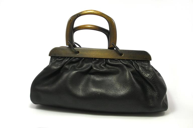 GUCCI by TOM FORD Wooden Handles Black Leather Doctor Satchel 2002 Bag  Ultra chic GUCCI doctor s 052fa58cd5