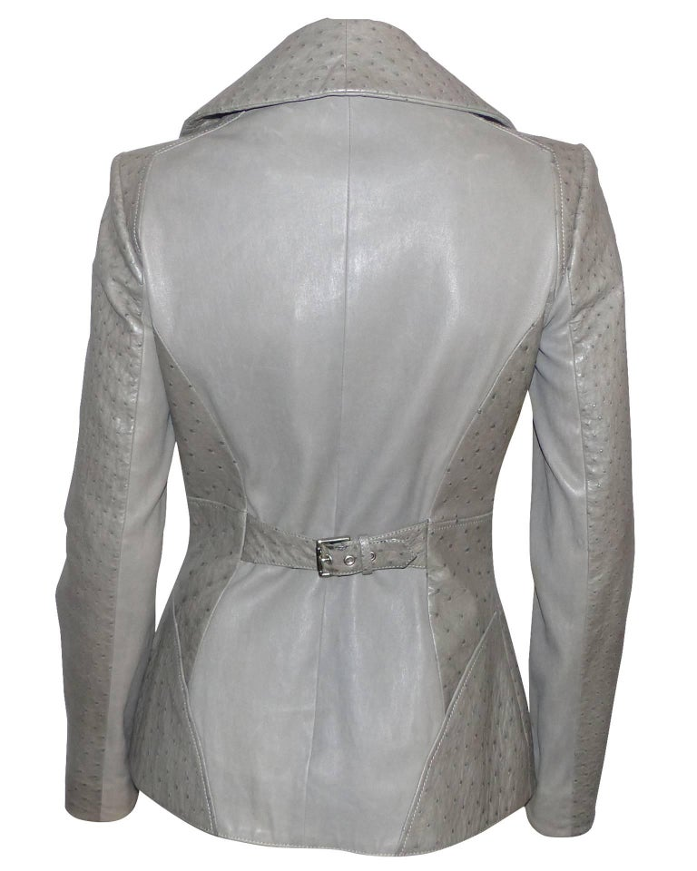 Gray FAN-TAS-TIC Jitrois Jean Claude Leather Jacket grey Autruche / BRAND NEW  For Sale