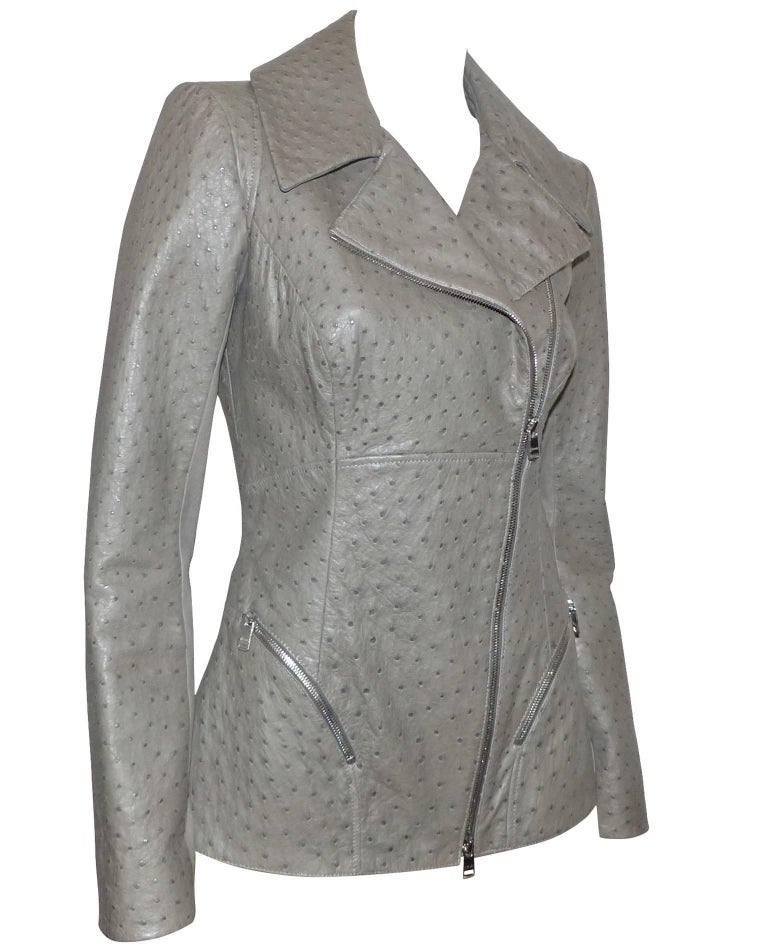 FAN-TAS-TIC Jitrois Jean Claude Leather Jacket grey Autruche / BRAND NEW  In New Never_worn Condition For Sale In Saumur, FR