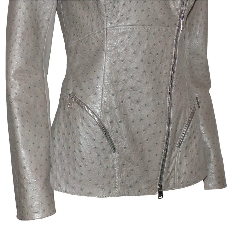 Women's FAN-TAS-TIC Jitrois Jean Claude Leather Jacket grey Autruche / BRAND NEW  For Sale