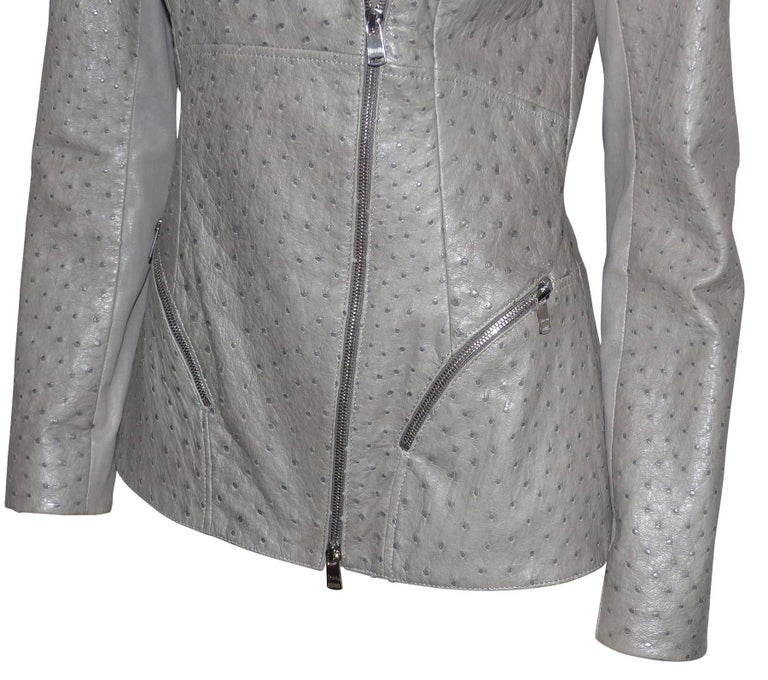 FAN-TAS-TIC Jitrois Jean Claude Leather Jacket grey Autruche / BRAND NEW  For Sale 2