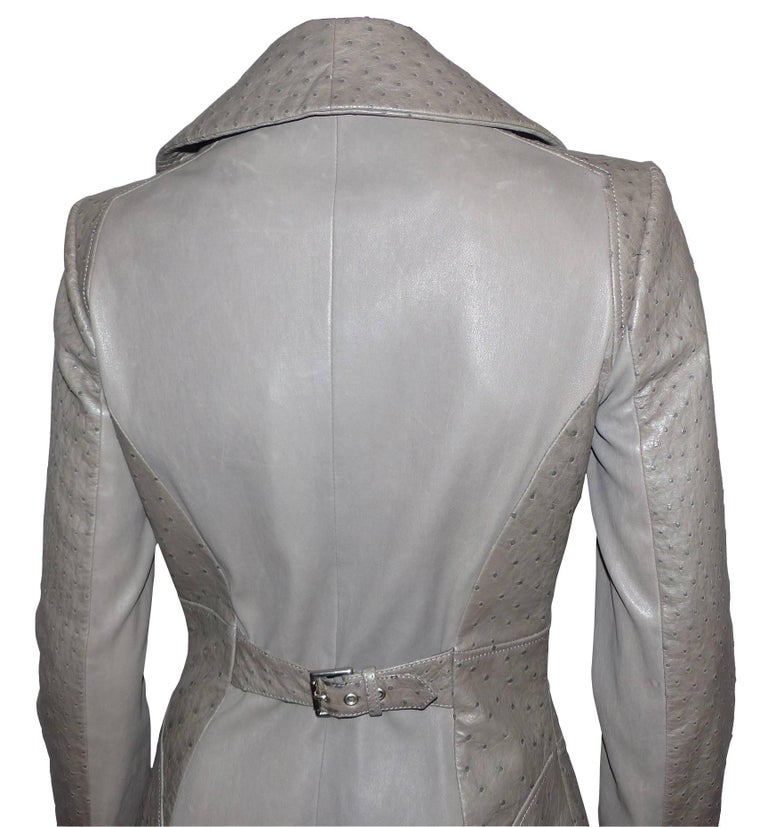 FAN-TAS-TIC Jitrois Jean Claude Leather Jacket grey Autruche / BRAND NEW  For Sale 3