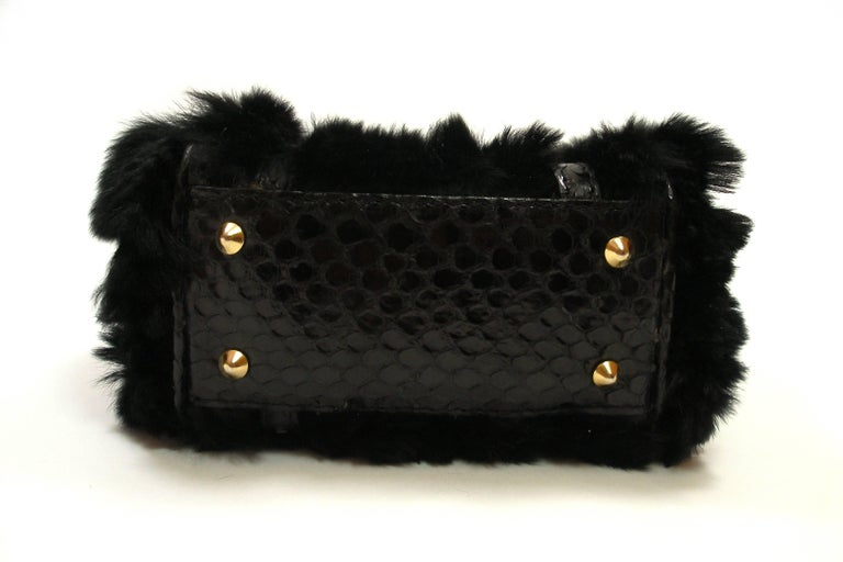 Women S So Cute Micro Versace Bag In Python And Fausse Furring For