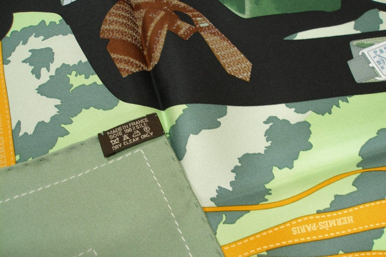 Hermès Made in France Monsieur et Madame scarf silk 90 cm / BRAND NEW In New Never_worn Condition For Sale In Saumur, FR