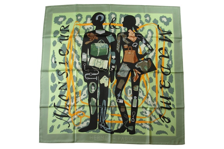 Women's Hermès Made in France Monsieur et Madame scarf silk 90 cm / BRAND NEW For Sale