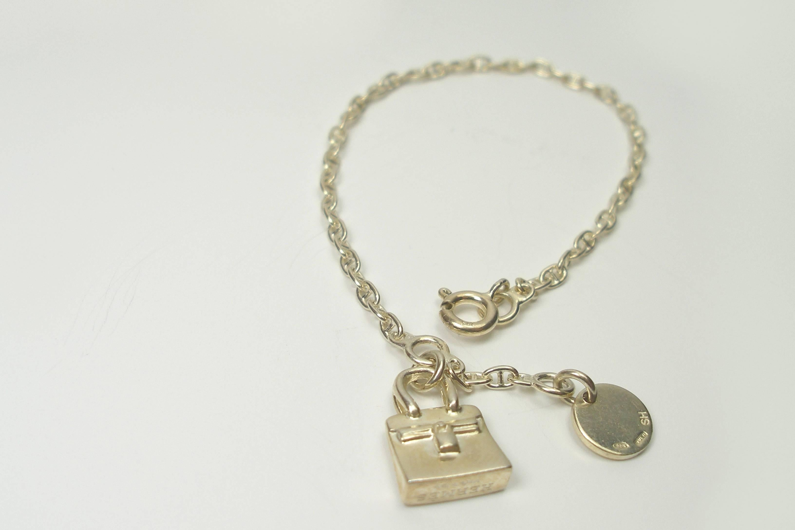 1563d363627 ... clearance so cute hermes vintage birkin charm silver chaine dancre  bracelet silver 925 in good 7d996