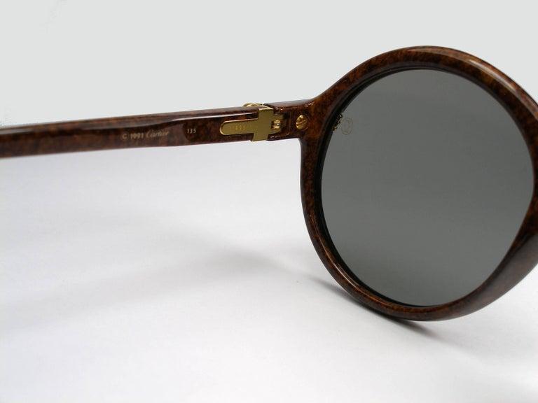 89e50527085 Vintage Cartier Cabriolet Round Brown 18K Gold Sunglasses France 1991 s For  Sale 3