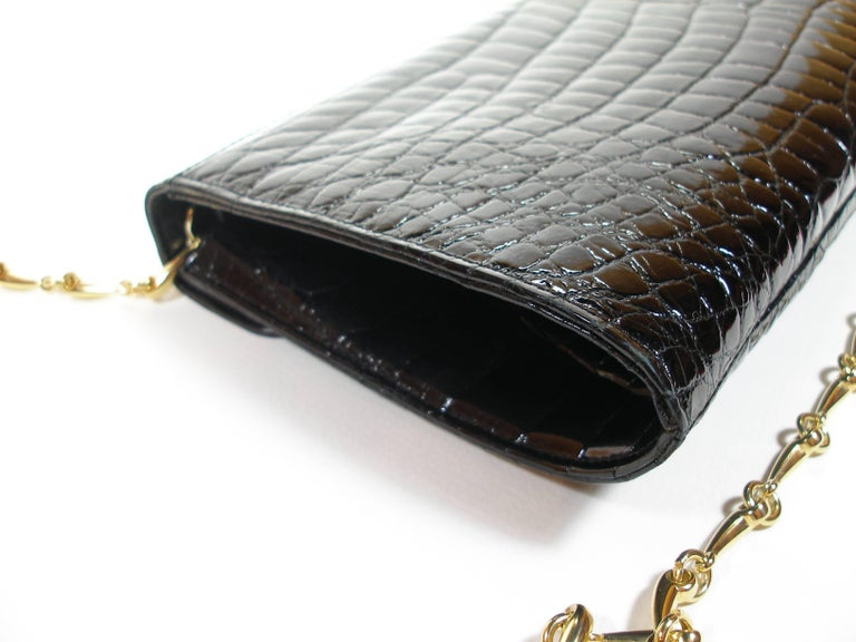 Women's Rare and Vintage Delvaux Black Crocodile Clutch or Evening Bag / Good Condition For Sale