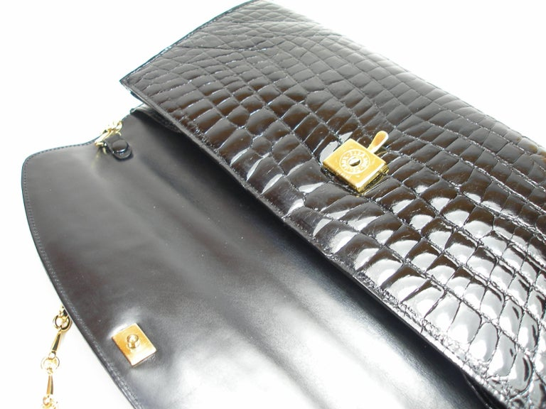 Rare and Vintage Delvaux Black Crocodile Clutch or Evening Bag / Good Condition For Sale 4