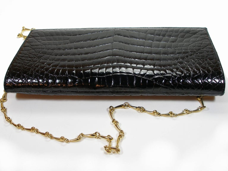 Rare and Vintage Delvaux Black Crocodile Clutch or Evening Bag / Good Condition For Sale 2