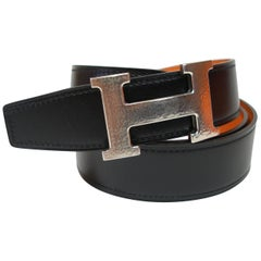 Hermes 32 mm Kilt Belt Buckle Constance Martelé and Strap Black Potiron 90cm/BN