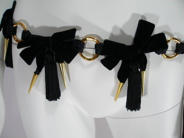 Women's 1980'S Vintage Yves Saint Laurent Black Velvet and Passementerie Belt  For Sale