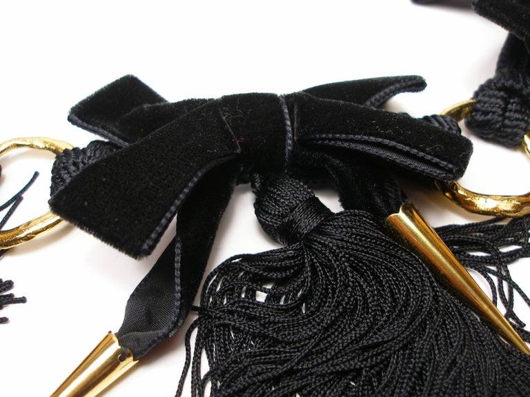 1980'S Vintage Yves Saint Laurent Black Velvet and Passementerie Belt  For Sale 1